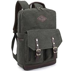 DAOTS Vintage Canvas Laptop Backpack Rucksack for College School Travel Daypack (1-Year Warranty Army Green) * MORE INFO @ http://www.wolverinetravel.com/Travel_Items/100111/wvd