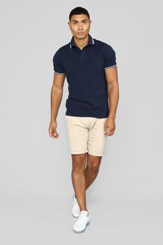 Men's basic tees and bottoms are the foundation to a good wardrobe. And Fashion Nova has hundreds of styles to choose from at prices that leave room for accessories. Polo Shirt Outfits, Polo Outfit, Summer Shorts Outfits, Casual Summer Outfits, Men's Outfits, Picnic Outfits, Grunge, Stylish Mens Outfits, Mens Activewear