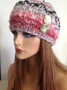 Hand Knit Hat Beanie Ombre Plums Gray Black Designer Fashion Hip Winter Snow #Handmade #Beanie