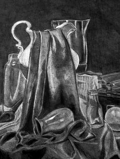 Charcoal, using a reverse technique, drawing with an eraser, Drawing II