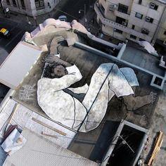 Rooftop piece by Ella & Pitr in Santiago, Chile #streetart #ellaandpitr