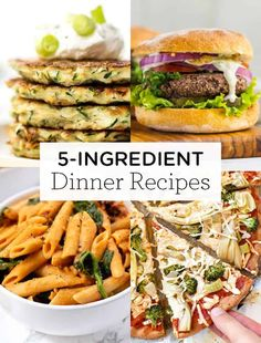 Here are 20 healthy 5-ingredient or less dinner recipes! This list has lots of vegetarian, vegan and gluten-free ideas including chili, veggie burgers, pasta dishes, stuffed peppers, soups and more! These simple recipes are made with pantry-staples and are so easy to make. Cherry Tomato Pasta Sauce, Roasted Cherry Tomatoes, Couscous Healthy, Quinoa, Clean Eating Recipes, Cooking Recipes, Vegan Mushroom Pasta, Bbq Pulled Pork Recipe, Vegetarian Recipes