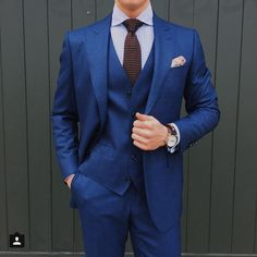 Melbourne man about town @the.tailored.man hits some sound classical notes in our indigo-blue Lafferty three-piece suit from last year.」