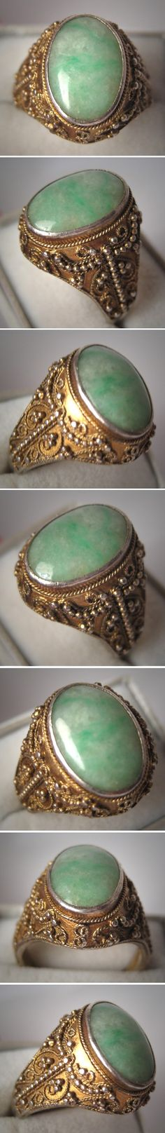 Antique Jade Ring Vintage Etruscan Gold Gilt Jewelry - Wedding
