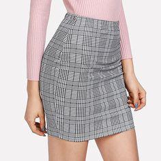 Women Plaid Print Bodycon in Grey for workwear. Bodycon Fashion, Skirt Fashion, Fashion Dresses, Fashion Hats, Fashion Edgy, Workwear Skirts, Short Skirts, Mini Skirts, Women's Skirts