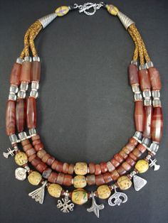 Antique Carnelian & African Trade Bead Necklace by GEMILAJewels
