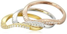 Set of 3 Wave with Rose and Yellow Gold Plated Sterling Silver Cubic Zirconia Stackable Ring Size 7 -- Want additional info? Click on the image.(This is an Amazon affiliate link and I receive a commission for the sales)