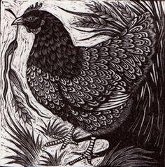Hen ~ Wood Engraving ~ Rosamund Fowler