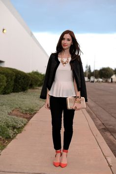 Inspiration look Day to night : Great day to night outfit.  Bebe Top JCrew pants and UrbanOutfitters Jacket.  #