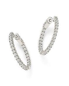 Diamond Inside Out Hoop Earrings in 14K White Gold, 1.0 ct. t.w.