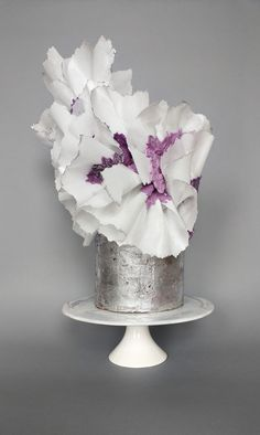 Silver wedding with white wafer flower