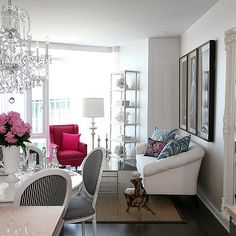 Glam living space (I'd go with a different rug. Perhaps a white or gray shag rug.)