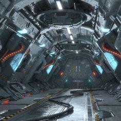 model of dirty Corridor Sci Fi scene. Spaceship Interior, Futuristic Interior, Spaceship Design, Futuristic Art, Futuristic Architecture, Warrior Drawing, Sci Fi Environment, Sci Fi Models, Modelos 3d