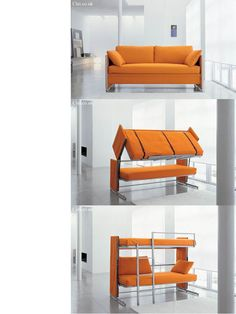 Doc sofa bunk bed unit convert with one simple movement into two everyday beds with wooden slatted base.If you don't have all that much space to dedicate to a single room or living room, this combination of a cozy sofa to chill out in and a double bunk bed will also blend in perfectly to your guest room.This sofa/bunk bed will really be a plus whatever your needs are.