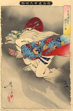 """The Flying Demon, 1889 from """"The Thirty-six Ghosts"""" series by Tsukioka Yoshitoshi"""