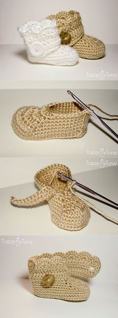 Baby Knitting Patterns Booties With this guide you can Crochet Baby Socks, Crochet Shoes, Crochet Slippers, Crochet Cozy, Kids Crochet, Baby Knitting Patterns, Baby Shoes Pattern, Knitted Booties, Crochet Designs