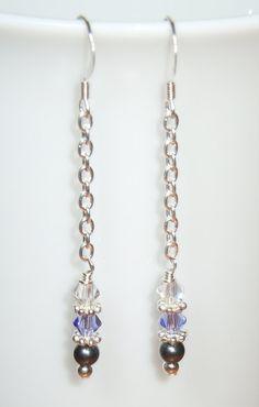 Swarovski Crystal and Pearl Long Chain Drop Earrings by BestBuyDesigns, $12.00