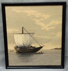 Large Asian painting on silk of ship