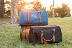 This monogrammed set is great for the traveling guy. The canvas bag and faux leather straps makes this sturdy bag a must have. It measures 20W