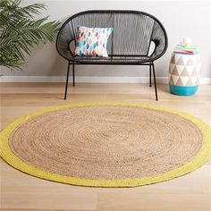 Round Jute Rug Large Homemaker Idea- paint around edge of rug colour Salon Furniture, Deck Furniture, Furniture Design, Small Round Rugs, Large Rugs, Urban Bedroom, Home Organisation, Jute Rug, Rugs Online