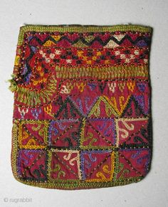50. Central Asian Turkmen Bag, Silk/Cotton, 20th Century, 5.8 x 4.8 inches