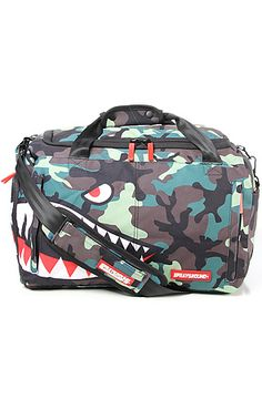 The Camo Shark Large Duffle Bag in Camo by Sprayground Camo Baby Stuff, Urban Outfits, Briefcase, Fashion Handbags, Bag Making, Pu Leather, Baby Car Seats, Spray Ground, Purses And Bags