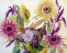 Original Wildflower Still Life Oil Painting by RenderedImpressions