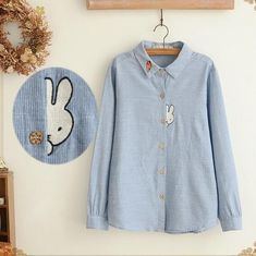 Shy Bunny Applique Shirt Gender: WomenDecoration: AppliquesClothing Length: RegularPattern Type: CharacterSleeve Style: RegularMaterial: CottonCollar: Turn-down CollarSleeve Length: Full NOTE: Please allow 2-3 weeks delivery due to popularity.