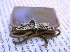 Free shipping - Mini Leather Book - DRAGONFLY - Vintage Style - Old Leather - Bronze Decor - 3x4 cm