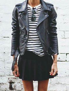 Hame, nahkatakki ja raitapaita | Classic stripes & classic leather jacket | #leatherjacket #stripes #skirt