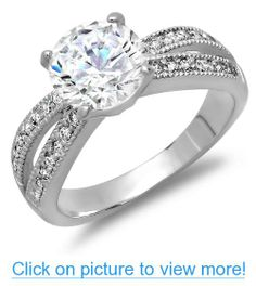 2.50 CT Platinum Plated Ladies Round Cut White Cubic Zirconia CZ Engagement Bridal Ring (Available in size 6, 7, 8)