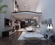 Most Popular Modern House Living Room Design 78 - Home Sweet Home Design Living Room, Tiny House Living, Home Decor Bedroom, Loft Apartment Decorating, Apartment Design, Loft House, House Rooms, Small House Design, Modern House Design