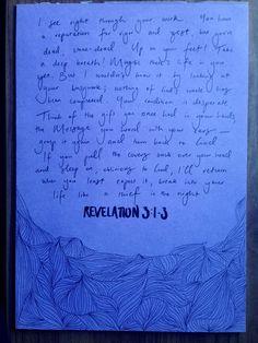 Simple hand lettering with 0.8 uni pen fineliner + zig black brush pen of Revelation 3:1-3 (MSG)