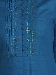 Blue Mandarin Collar Thread Embroidered Matka Silk Kurta Embroidery On Kurtis, Kurti Embroidery Design, Embroidery On Clothes, Embroidery Fashion, Embroidery Dress, Kurti Sleeves Design, Kurta Neck Design, Saree Blouse Neck Designs, Dress Neck Designs