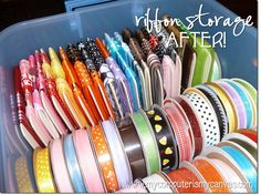 Best Ribbon storage idea EVER. Store on chipboard coasters with binder clips. 56 rolls of ribbon stored in the same amount of space as 16 rolls of ribbon. Ribbon Organization, Scrapbook Organization, Craft Organization, Scrapbook Supplies, Craft Supplies, Organizing Ideas, Scrapbooking, Organising, Organizing Solutions