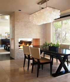 Agreeable Contemporary Dining Room Designs With Cool Lighting And Large  Glass Windows And Ceramic Floor And