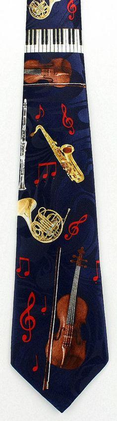 New Musical Instruments Mens Necktie Brass Piano Violin Woodwind Music Neck Tie #Fratello #NeckTie