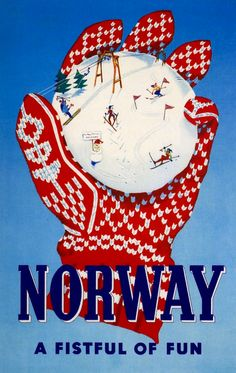 Lithograph poster for the Norway Travel Association. Illustrated by Inger Skjensvold Sørensen, 1956.