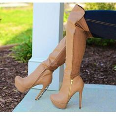 Share to get a coupon for all on FSJ Brown Long Boots Platform Stiletto Heels Over-knee Boots for Women Stiletto Boots, High Heel Boots, Heeled Boots, Bootie Boots, Ankle Boots, Long Brown Boots, Long Boots, Tall Boots, Talons Sexy