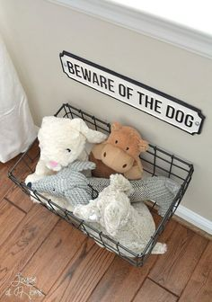 From dog bowls, pet beds, toys & tech, to pet gates, doggy doors & more. Check out our dog room decor wrap-up for all the best dog room decorating ideas. Animal Room, Animal Decor, Diy Dog Stuff, Cute Dog Stuff, Dog Toy Storage, Diy Storage, Storage Ideas, Creative Storage, Hanging Storage