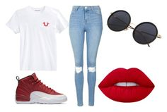 """""""Untitled #68"""" by onlyyc on Polyvore featuring True Religion, Topshop, NIKE and Lime Crime"""