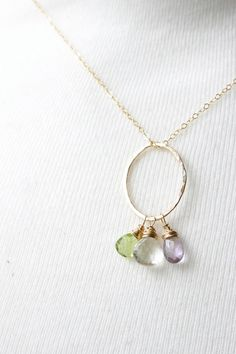 Gold birthstone trio necklace gold birthstone by ILoveHoneyWillow