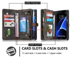 CaseMe 008 Samsung Galaxy S7 Edge Detachable 2 in 1 Zipper Wallet Folio Case Black