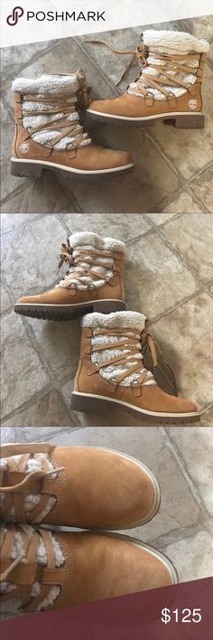 Timberland Lined Winter Boots Super cute Timberland boots Size 8  Lined Small scuffs on fronts. See photos. Minor wear. Timberland Shoes