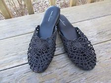 Daniel Green Vtg Crochet Slippers House Shoes Metallic Black Crocheted 9