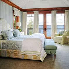 This sophisticated lake house was designed by Anne Hepfer Designs, located on the shores of Lake Joseph in Muskoka, Ontario, Canada. House Of Turquoise, Boho Bedroom Decor, Home Bedroom, Master Bedroom, Cottage Bedrooms, Bedroom Ideas, Beautiful Bedrooms, Beautiful Interiors, Romantic Bedrooms
