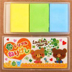 kawaii bear clover leaves DIY scented eraser set from Japan