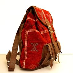 Brown Leather Backpack with a Unique Handmade Red door Cooleather