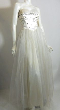White Satin Flowers and Rhinestones 1950s Ball Gown