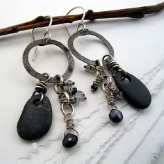 Urban Primitive Earrings: Steel, River Pebbles, Sapphires